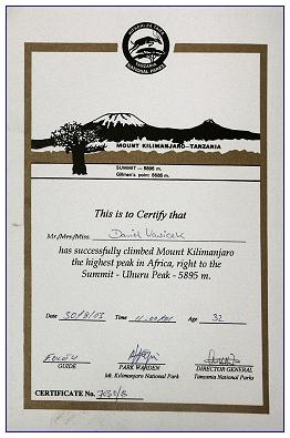 Kilimanjaro-Besteiger-Zertifikat